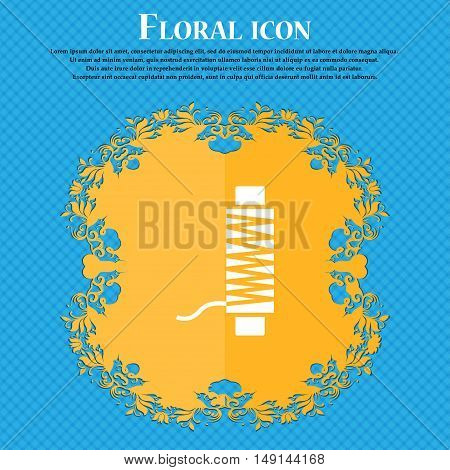 Thread Icon Sign. Floral Flat Design On A Blue Abstract Background With Place For Your Text. Vector
