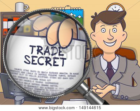 Trade Secret. Paper with Inscription in Businessman's Hand through Magnifier. Multicolor Doodle Style Illustration.