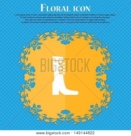 Female Fall And Winter Shoe, Boot Icon Sign. Floral Flat Design On A Blue Abstract Background With P
