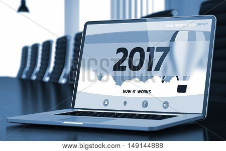 2017 Concept. Closeup Landing Page on Mobile Computer Display on Background of Conference Hall in Modern Office. Blurred Image with Selective focus. 3D.