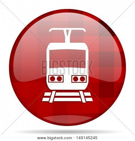 train red round glossy modern design web icon