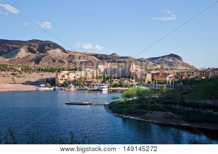 Town at the bay on sunset. Nevada