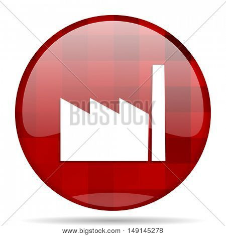 factory red round glossy modern design web icon