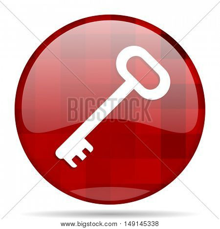 key red round glossy modern design web icon