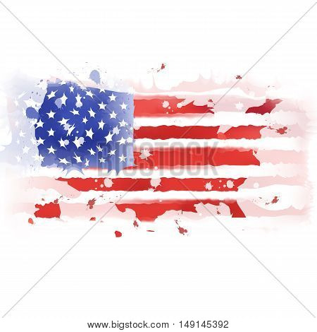 vector map of United States American; Watercolor paint