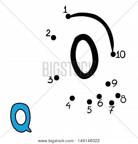 Numbers game for children, education dot to dot game, Letter  Q