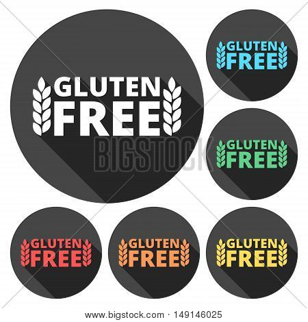 No gluten, free food label or sticker flat icon