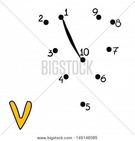 Numbers game for children, education dot to dot game, Letter  V