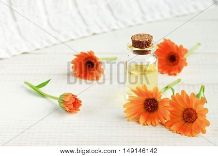 Bottle of Herbal infused calendula oil, bright orange flowers. Natural healing skincare cosmetic product.