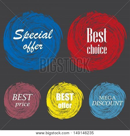 Set of vintage colorful labels for greetings and promotion. Premium Quality Guarantee, Bestseller, Best Choice, Sale, Special Offer