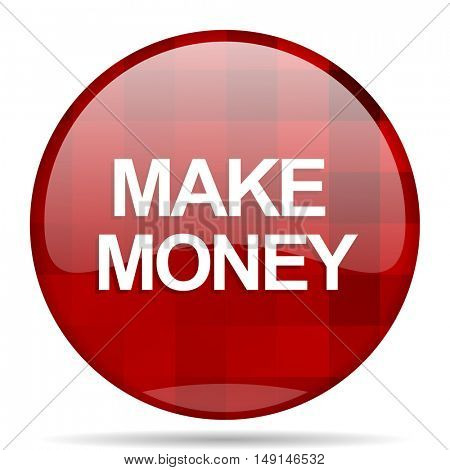 make money red round glossy modern design web icon