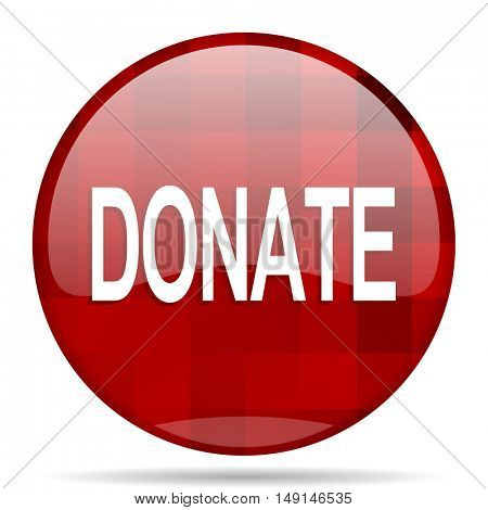 donate red round glossy modern design web icon