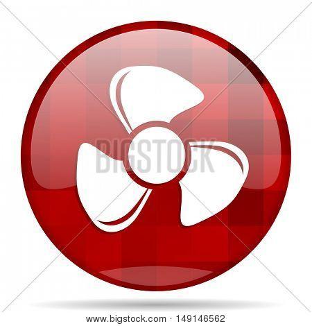 fan red round glossy modern design web icon