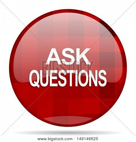 ask questions red round glossy modern design web icon