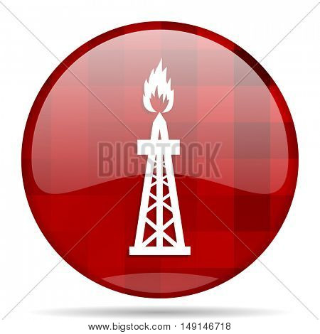 gas red round glossy modern design web icon