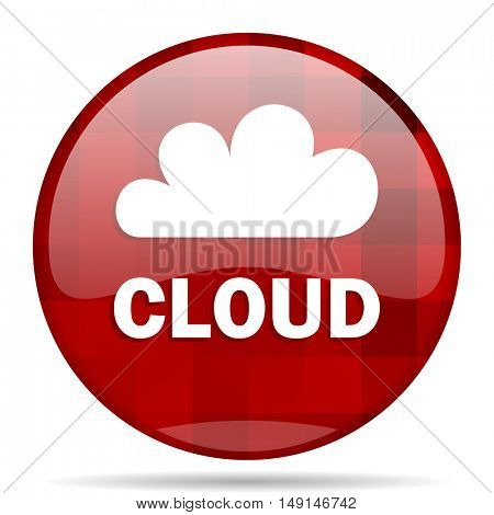 cloud red round glossy modern design web icon