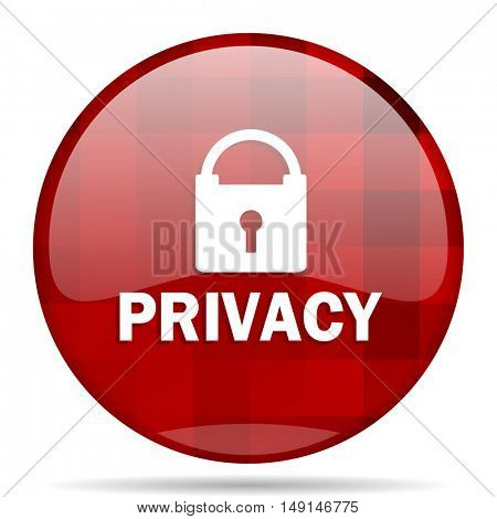 privacy red round glossy modern design web icon