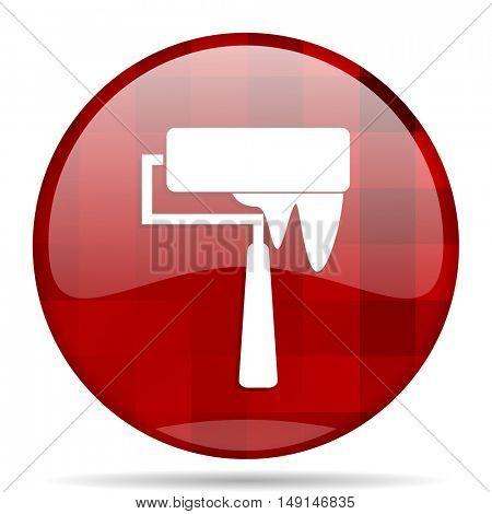 brush red round glossy modern design web icon