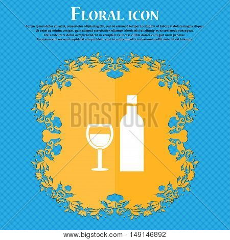 Wine Icon Sign. Floral Flat Design On A Blue Abstract Background With Place For Your Text. Vector