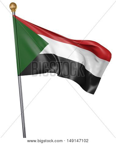 National flag for country of Sudan isolated on white background, 3D rendering