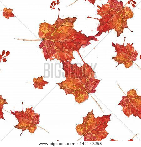 Watercolor seamless pattern with colorful autumn leaves.