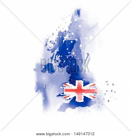 United Kingdom Vector Map  Water color paint