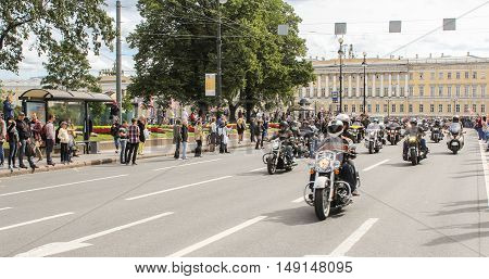 St. Petersburg, Russia - 13 August, The parade of motorcyclists in the city,13 August, 2016. The annual parade of Harley Davidson in the squares and streets of St. Petersburg.