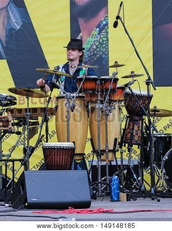 St. Petersburg, Russia - 13 August, Speech drummer on stage,13 August, 2016. Africa and the Russian Culture Festival on Krestovsky Island in St. Petersburg.