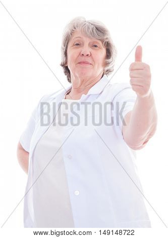 Senior worker showing thumbs up. All on white background.