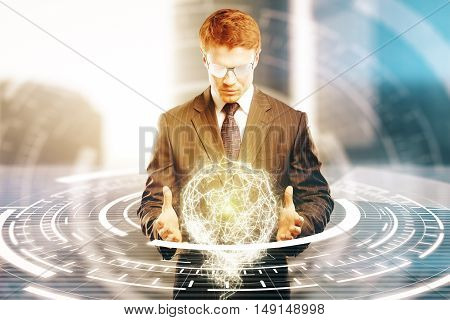 Young businessperson in suit and glasses holding abstract circular digital model on bright background