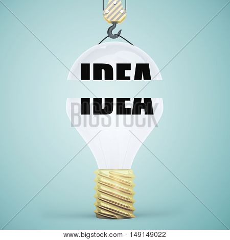 Creative light bulb suspended on crane hook. Blue background. Idea concept. 3D Rendering
