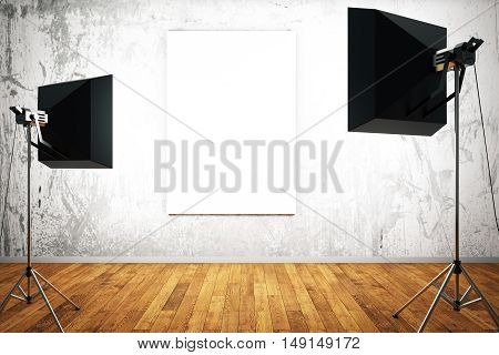 Empty poster in room with concrete wall and wooden floor illuminated with two professional lamps. Mock up 3D Rendering