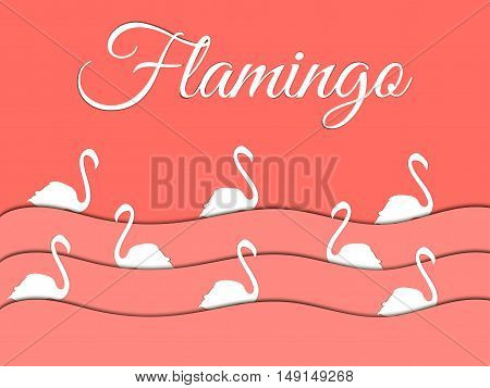 Flamingo paper waves birds swim. Vector shadow.