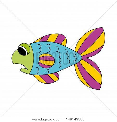 Sad cartoon blue violet and yellow fish isolated on white background. Vector illustration.