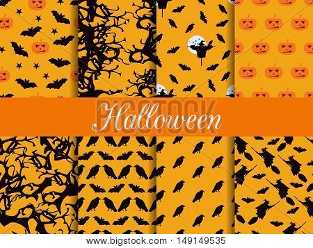 Halloween Seamless Patterns. Pattern With Lamp Jack, Witch With Bats And Crows. Vector Illustration