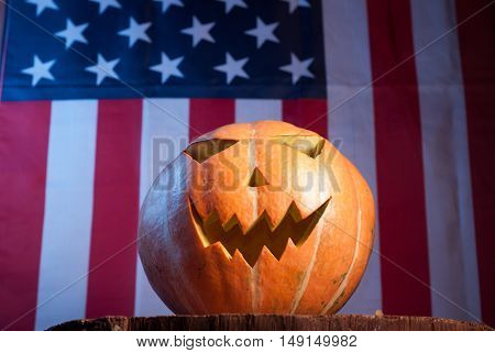 Jack-o '- lantern on an American flag background, happy holidays, Jack-o ' - lantern-patriot
