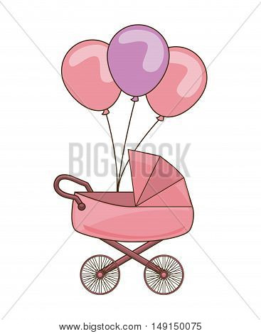 baby cart with balloons party vector illustration design