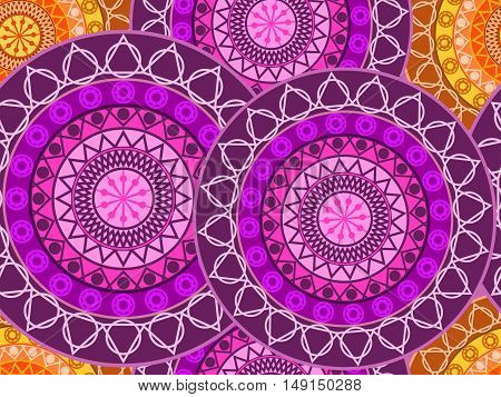 Mandala Seamless Pattern. Geometric Pattern In Buddhist And Hindu Style. Vector Illustration.