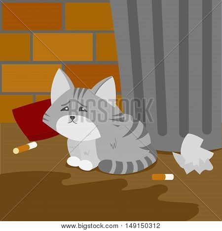 Homeless kitten is suffering on the street. Cartoon colorful vector illustration