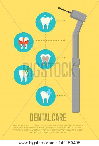 Dental care banner with dentist drill and teeth symbols. Dentistry vector illustration. Dental treatment concept. Tooth care and restoration, stomatology and orthodontics. Dentist office flyer
