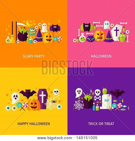 Halloween Party Concepts Set. Flat Design Vector Illustration. Collection of Trick or Treat Colorful Objects.