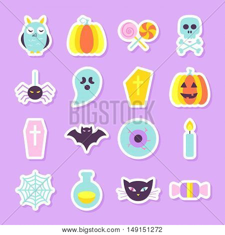 Halloween Party Stickers Set. Flat Style Vector Illustration. Modern Cute Objects In Trendy Colors. Trick or Treat.