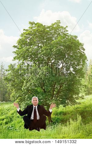 Businessman sitting in lotus pose against green tree background. Yoga concept.