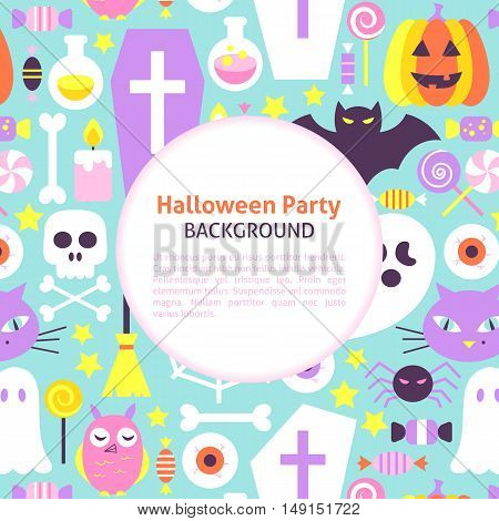 Halloween Party Trendy Background. Flat Style Vector Illustration for Scary Holiday Promotion. Colorful Trick or Treat Objects.