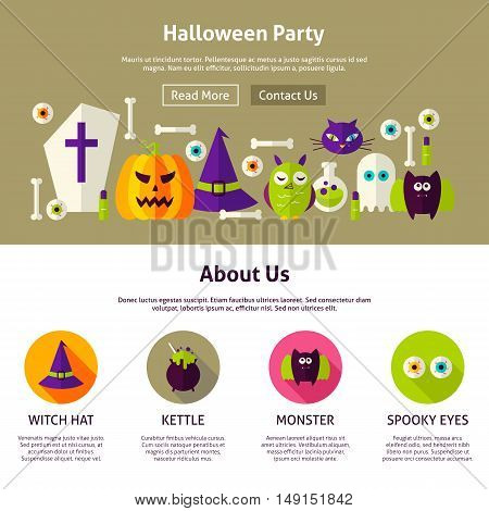 Halloween Party Web Design Template. Flat Style Vector Illustration for Website Banner and Landing Page. Trick or Treat.