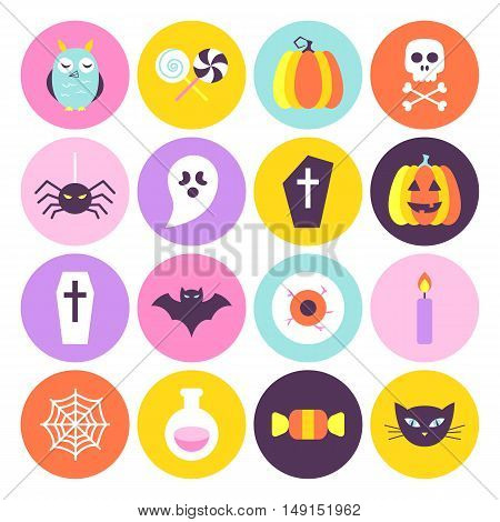 Halloween Circle Icons Set in Trendy Colors. Flat Style Vector Illustration. Scary Party Holiday. Trick or Treat.