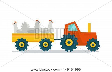 Domestic animals transportation vector. Flat design. Tractor with trailer caring hens. Fresh poultry delivery to market from the farm. Meat production and delivering concept. isolated on white.