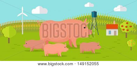 Farmyard vector illustration. Flat design. Pig with piglets standing against the farm landscape, fields on background. Organic farming concept. Traditional agriculture. Modern ecological farm.