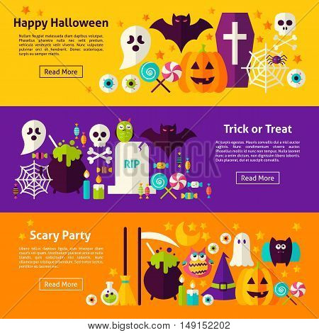 Halloween Web Horizontal Banners. Flat Style Vector Illustration for Website Header. Trick or Treat Objects.