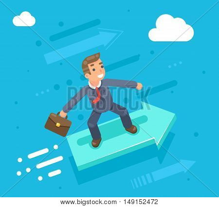 Businessman character riding on infographic arrow growth success flat design vector illustration